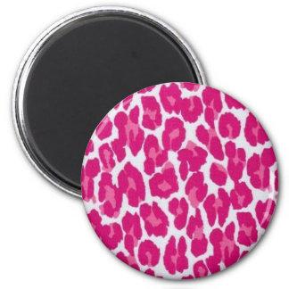 Leopardo rosado imán redondo 5 cm