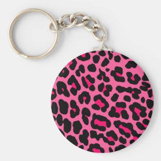 Leopardo rosado llavero redondo tipo pin