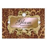 Leopardo rosado loco atractivo del oro 311 tarjeta de visita
