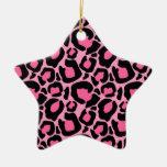 Leopardo rosado ornamentos de navidad