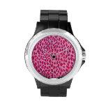 Leopardo rosado relojes de pulsera