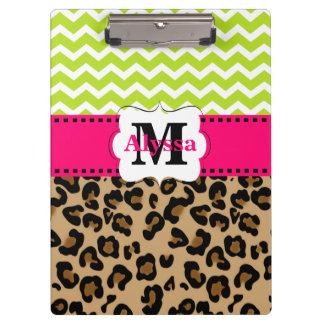 Leopardo rosado verde Chevron personalizado