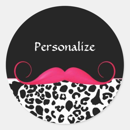 Leopardo rosado y negro del bigote de moda pegatinas redondas