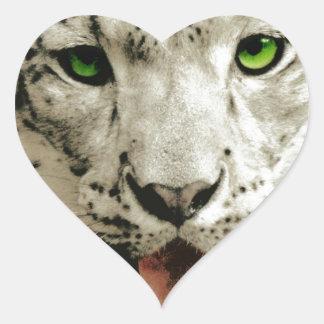 Leopardo salvaje pegatina de corazón personalizadas