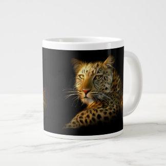 Leopardo salvaje taza de café de cerámica grande taza grande