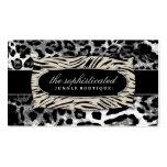 Leopardo sofisticado del negro de la selva 311 plantilla de tarjeta personal