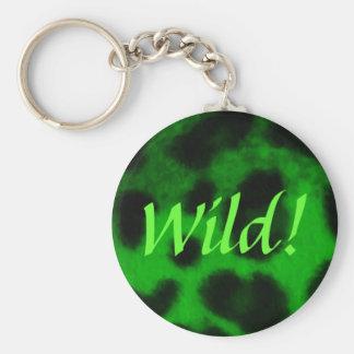 Leopardo verde manchado llavero redondo tipo pin