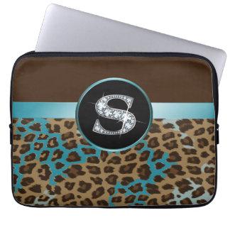 Leopardo y cinta del trullo de Brown del Funda Portátil