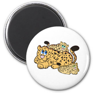 Leopardo y Cubs Imán Redondo 5 Cm