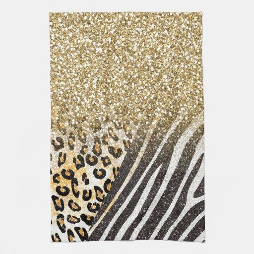 Leopardo y estampado de zebra de moda femeninos im toalla de cocina