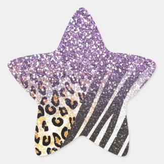 Leopardo y estampado de zebra de moda femeninos pegatina en forma de estrella