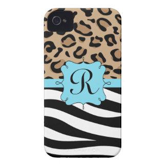 Leopardo y monograma personalizado estampado de iPhone 4 Case-Mate funda