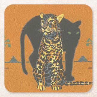 Leopardo y pantera posavasos de cartón cuadrado