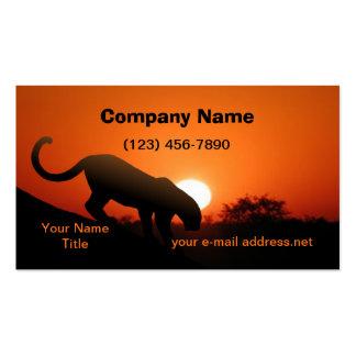 Leopardo y puesta del sol tarjetas de visita