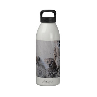 Leopardo y sus cachorros botella de beber
