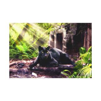 Leopardo y templo del negro de la impresión de la lienzo envuelto para galerias