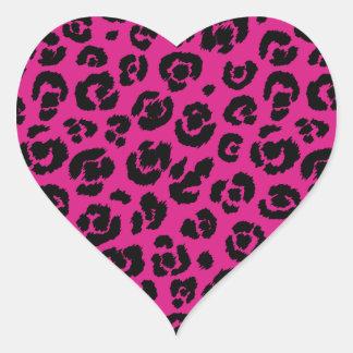 leopardpatternhotpink.png pegatina en forma de corazón