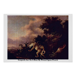 Leopards Are On A Boar By Wenzel Ignaz Prasch Print