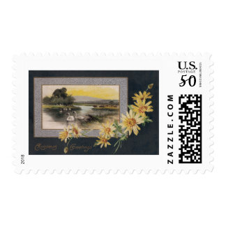 Leopard's Bane and Swans Vintage Christmas Postage