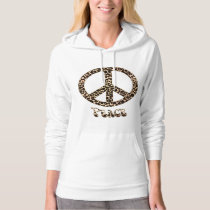 Leopards for Peace ~ Leopard Print Peace Sign Hoodie