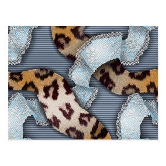 Leopards 'n Lace - blue - Postcard
