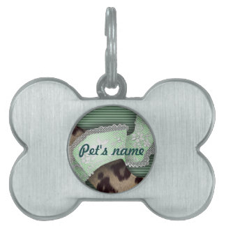 Leopards 'n Lace - green - Pet Name Tag
