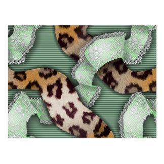 Leopards 'n Lace - green - Postcard