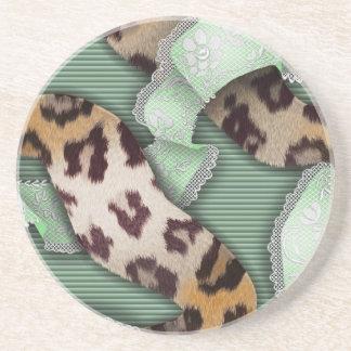 Leopards 'n Lace - green - Sandstone Coaster