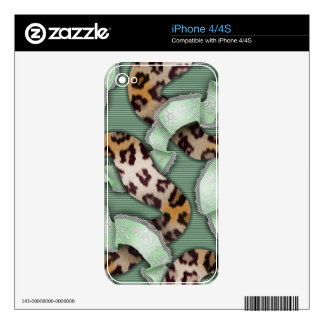 Leopards 'n Lace - green - Skin For iPhone 4S