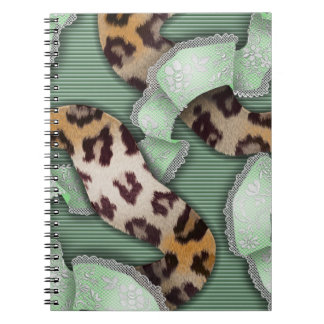 Leopards 'n Lace - green - Spiral Note Book