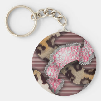 Leopards 'n Lace - intense pink - Keychain