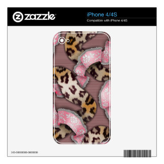 Leopards 'n Lace - intense pink - Skin For The iPhone 4