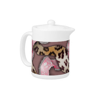 Leopards 'n Lace - intense pink - Teapot