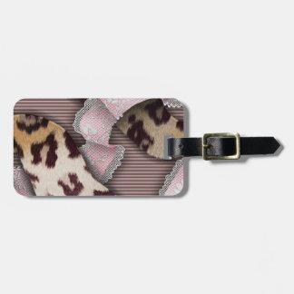 Leopards 'n Lace - pastel pink - Bag Tag