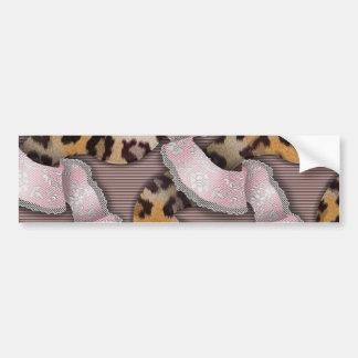 Leopards 'n Lace - pastel pink - Car Bumper Sticker