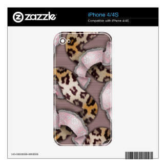 Leopards 'n Lace - pastel pink - Decal For iPhone 4