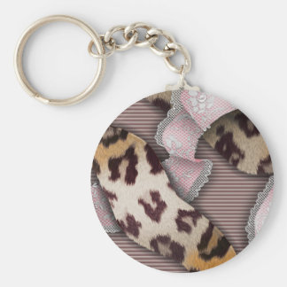 Leopards 'n Lace - pastel pink - Keychain