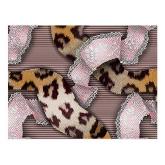 Leopards 'n Lace - pastel pink - Postcard