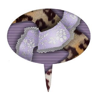 Leopards 'n Lace - purple - Cake Topper