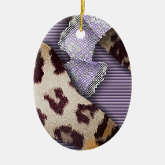 Leopards 'n Lace - purple - Ceramic Ornament