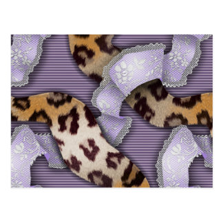 Leopards 'n Lace - purple - Postcard
