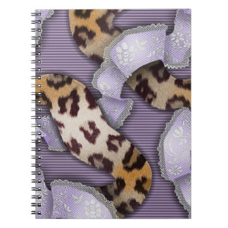 Leopards 'n Lace - purple - Spiral Note Books