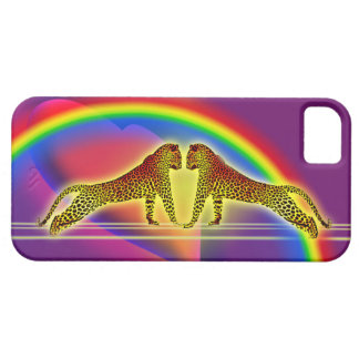 leopards, rainbow, heart iPhone 5 cover