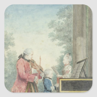 Leopold Mozart  and his Children Wolfgang Square Sticker