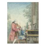 Leopold Mozart y sus niños Wolfgang Tarjeta Postal