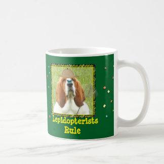 """""""Lepidopterists Rule"""" mug with Basset Hound"""