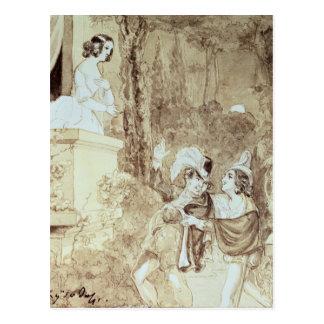 Leporello serenading Elvira en el modo Juan Tarjeta Postal