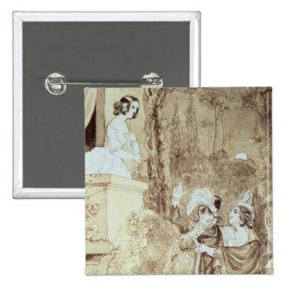 Leporello serenading Elvira in guise Giovanni 2 Inch Square Button