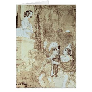 Leporello serenading Elvira in guise Giovanni Card