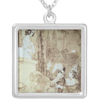 Leporello serenading Elvira in guise Giovanni Silver Plated Necklace